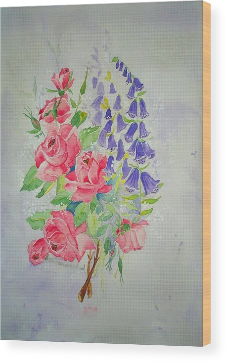 Roses Flowers Wood Print featuring the painting Roses And Digitalis by Irenemaria