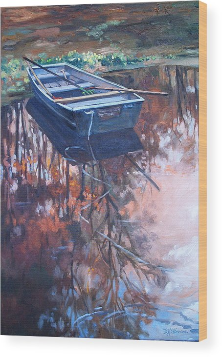 Water Wood Print featuring the painting Rowboat Ashore by Dianna Willman