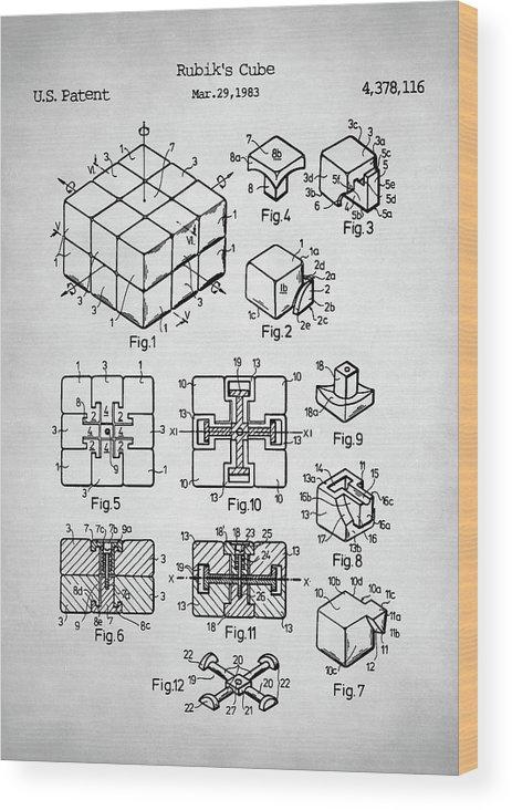 Rubiks Cube Patent Wood Print