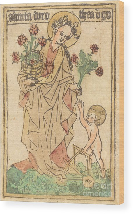 Wood Print featuring the drawing Saint Dorothy by German 15th Century