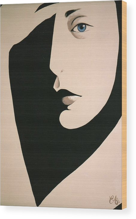 Face Wood Print featuring the painting Salute by Carrie Auwaerter
