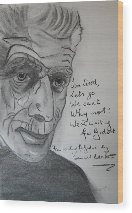 Irish Inretnational Playwrite Wood Print featuring the painting Samuel Beckett by Roger Cummiskey