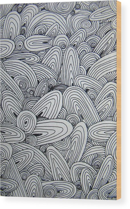 Graphic Wood Print featuring the drawing See Study Nine by Ana Villaronga