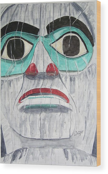 Alaska Totem Figure Wood Print featuring the painting She Is Tlingit by Larry Wright