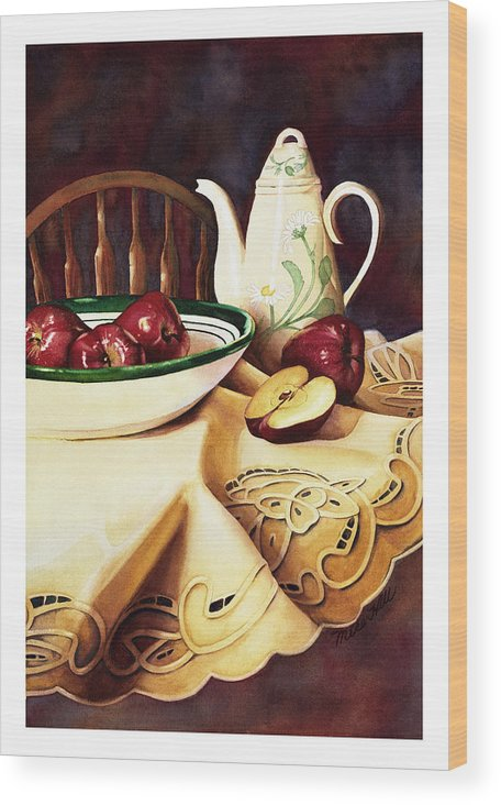 Apples Delicious Red Fruit Pitcher Tablecloth Still Life Cut Porcelain Daisy Pattern Wood Print featuring the painting Simply Delicious by Mike Hill