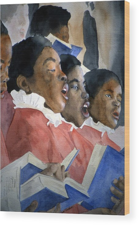 Choir Wood Print featuring the painting Sing Out Your Joy by Jean Blackmer