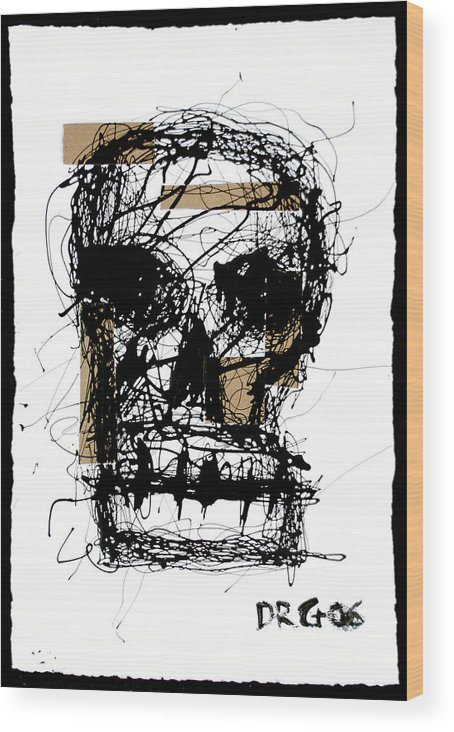 Abstract Wood Print featuring the painting Skull by Dmitry Gubin