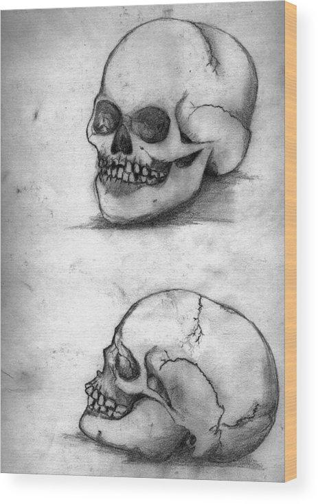 Skull Wood Print featuring the drawing Skull Drawing by Alban Dizdari