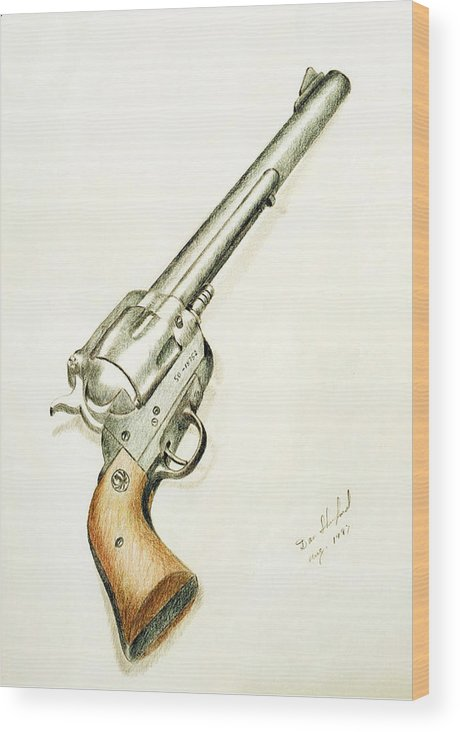 Dan Shuford Wood Print featuring the drawing Smith And Wesson by Daniel Shuford