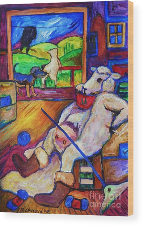 Sheep Wood Print featuring the painting Smoko At The Sheep Shearing Shed by Dianne Connolly