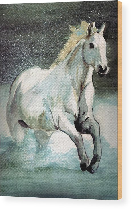 White Horse Water Running Horse Wood Print featuring the painting Splash by Debra Sandstrom