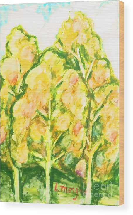 Trees Wood Print featuring the painting Spring Fantasy Foliage by Laurie Morgan