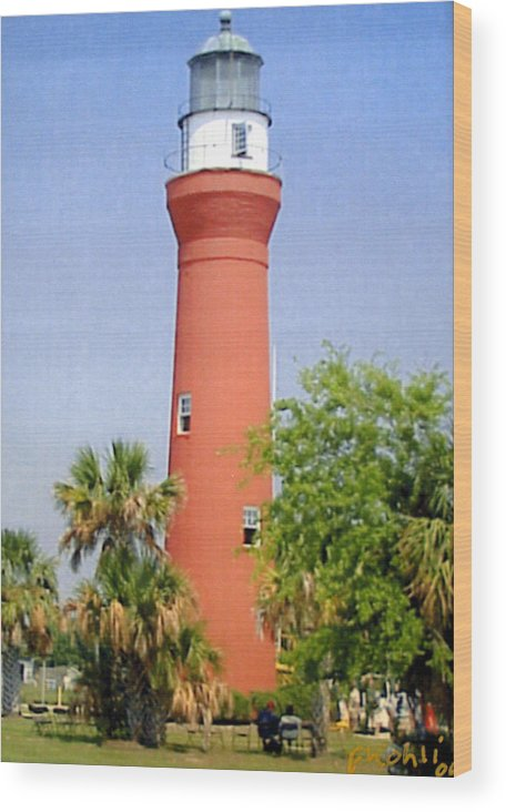 Florida Lighthouses Photographs Wood Print featuring the photograph St Johns River Lighthouse by Frederic Kohli