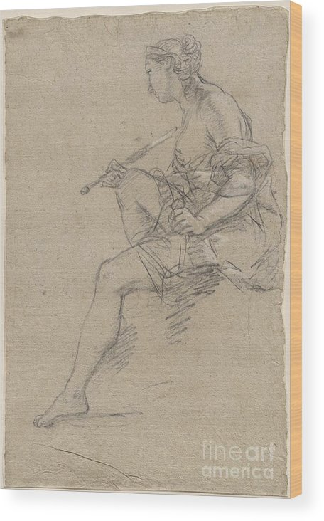 Wood Print featuring the drawing Study For An Allegory Of Painting by Etienne Parrocel