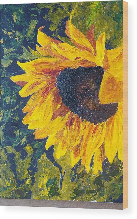 Wood Print featuring the painting Sunflower by Tami Booher