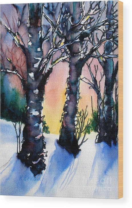 Paintings Wood Print featuring the painting Sunset Birches On The Rise by Kathy Braud