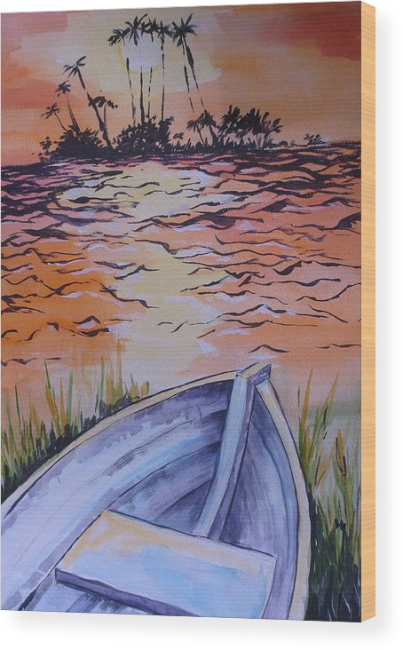Seascape Wood Print featuring the painting Sunset Dinghy by Paul Choate