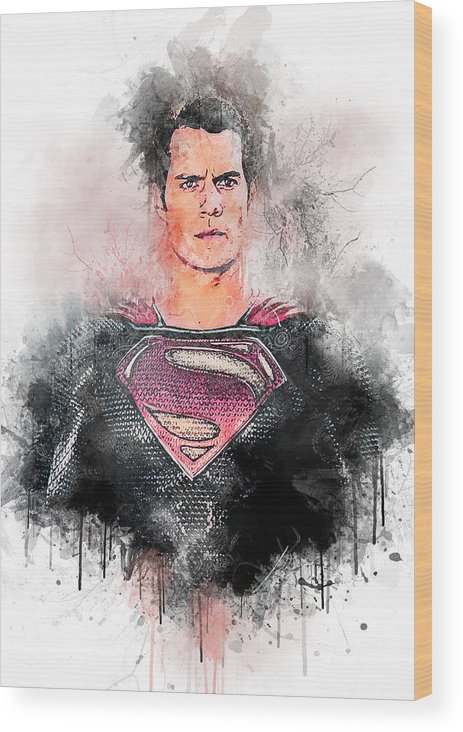 Batman Wood Print featuring the digital art Superhero by Anna J Davis
