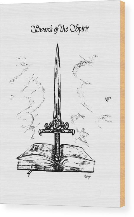 Sword Wood Print featuring the drawing Sword Of The Spirit by Maryn Crawford