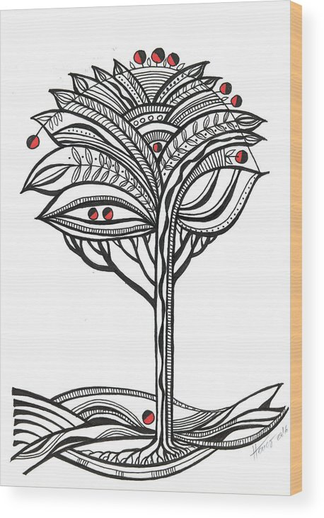 Abstract Wood Print featuring the drawing The Apple Tree by Aniko Hencz