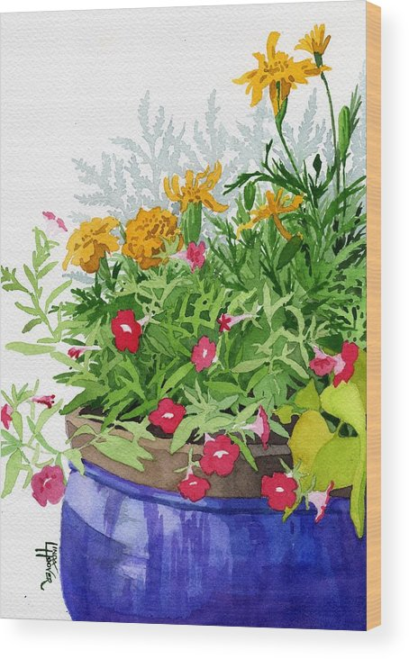 Marigold Wood Print featuring the painting The Blue Pot by Linda Hoover