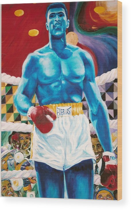 Mohammed Ali Wood Print featuring the painting The Greatest by Lee Ransaw