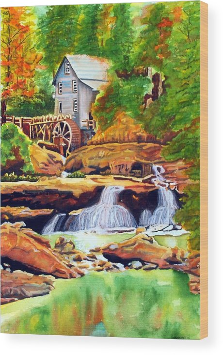 Watercolor Wood Print featuring the painting The Grist Mill by Gerald Carpenter