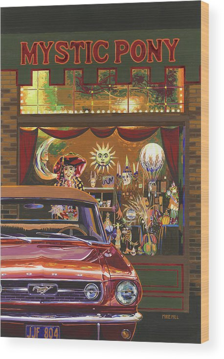 Mustang Mystic Pony Halloween Pumpkin Astrology Sun Moon Witch Skull Occult Classic Car Collector Wood Print featuring the painting The Mystic Pony by Mike Hill