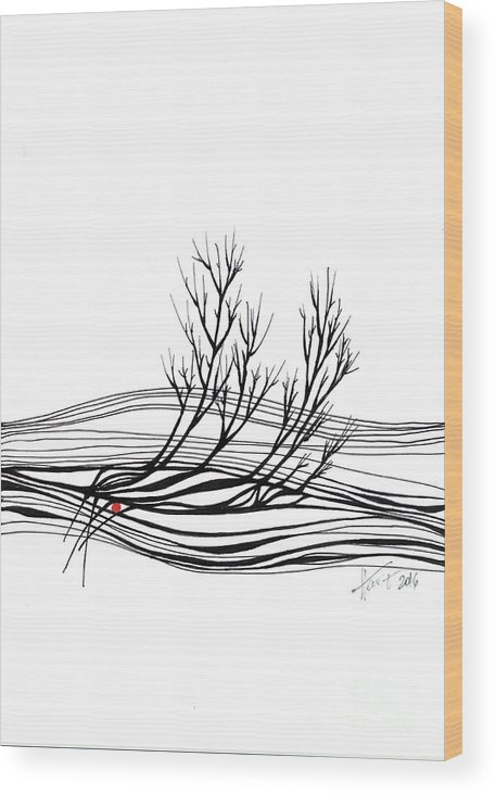 Trees Wood Print featuring the drawing The Seed by Aniko Hencz