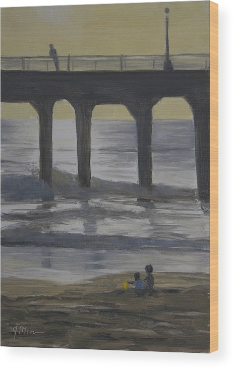 Ocean Wood Print featuring the painting The Yellow Bucket by Joe Mancuso
