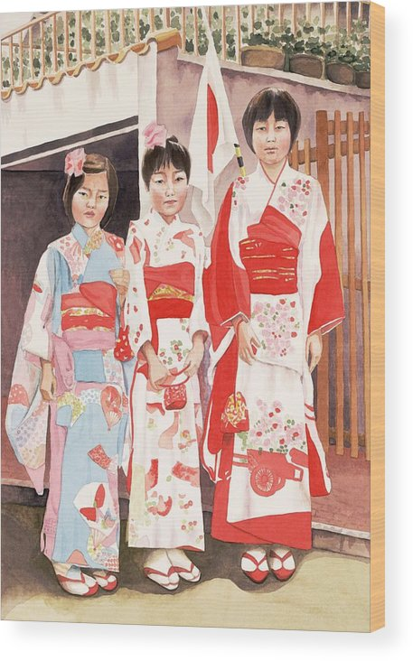 Three Japanese Girls In Kimono Wood Print featuring the painting Three Sisters by Judy Swerlick
