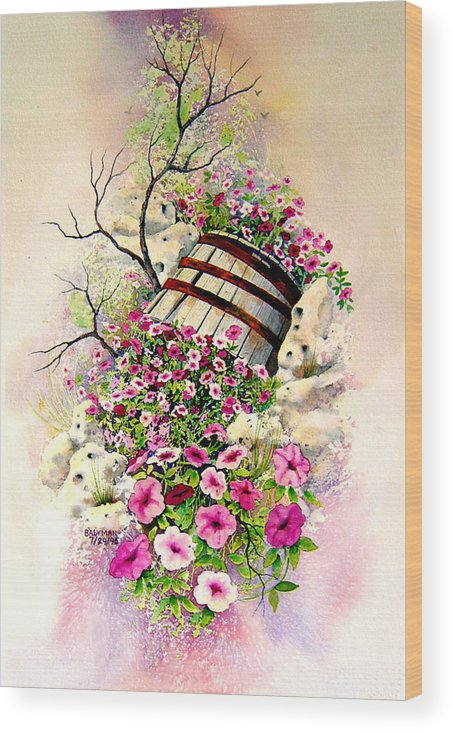 Floral Wood Print featuring the painting Tipsy Whiskey Barrel by Brooke Lyman