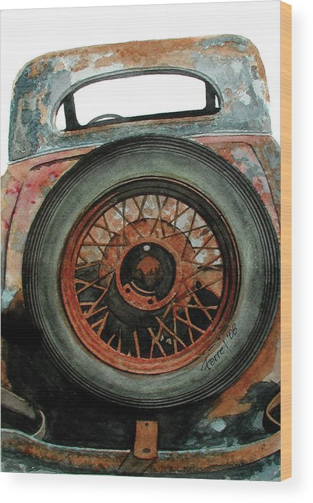 Car Wood Print featuring the painting Tired by Ferrel Cordle