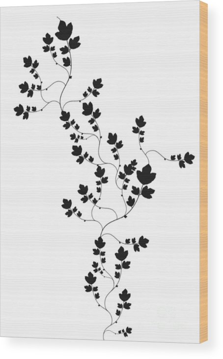 Black And White Wood Print featuring the drawing Trailing Leaves by Writermore Arts