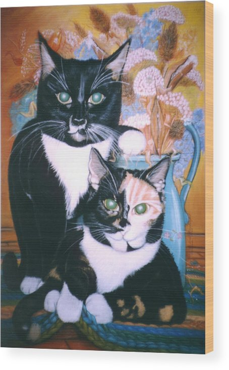 Cats Wood Print featuring the painting Two Cats by Winifred Ann Weishampel