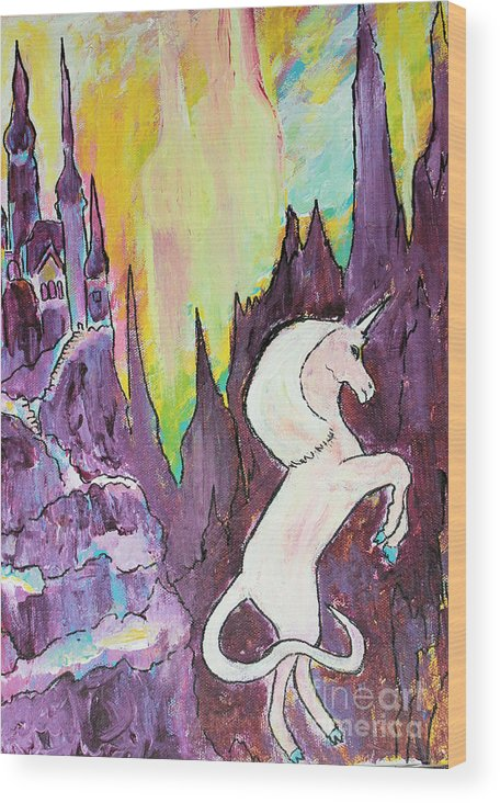 Unicorn Wood Print featuring the painting Unicorn by Sandy DeLuca