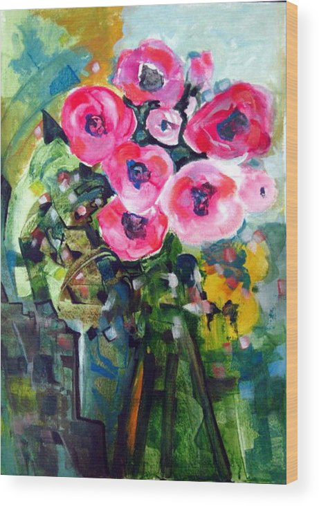 Flowers Vase And Flowers Vase Et Fleurs Abstract Flowers Modern Acrylics On Paper Colorful Nature Warm Cool Afantasy Abstract Modern Cubism Figurative Colored Multicolor Contemporary Arts Fantasy Fantastic Geometric Fractal Faces Mysterious Unusual Wood Print featuring the painting Vase Of Roses by Therese AbouNader