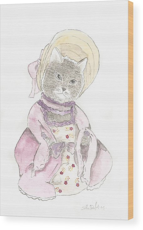 Victorian Wood Print featuring the painting Victorian Cat In Purple by Silvia Beneforti