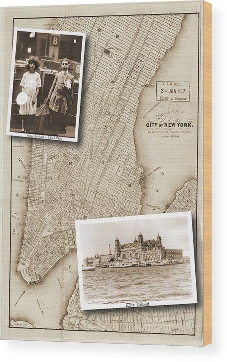 Vintage Map Wood Print featuring the photograph Vintage Map Ellis Island Immigrants by Karla Beatty