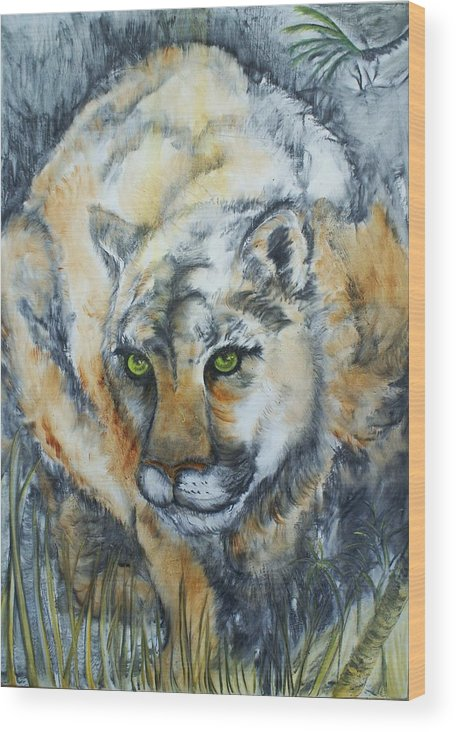 Cat Wood Print featuring the painting Waiting... by Elsa Zarduz