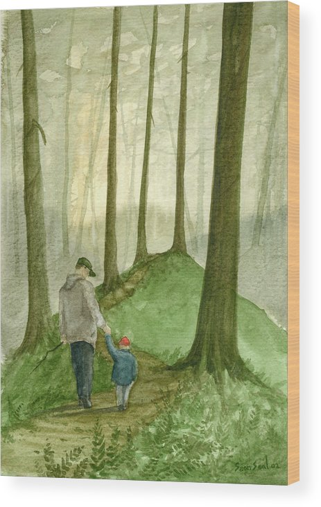 Father Wood Print featuring the painting Walk In The Woods by Sean Seal