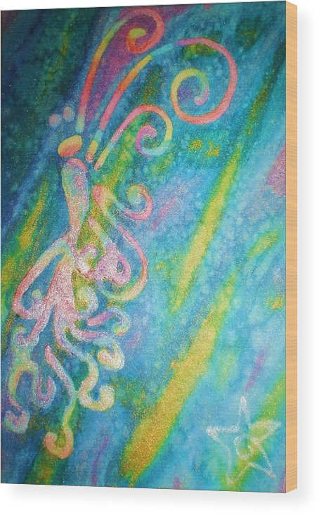 Rainbow Wood Print featuring the painting Water Fairy by Chandelle Hazen
