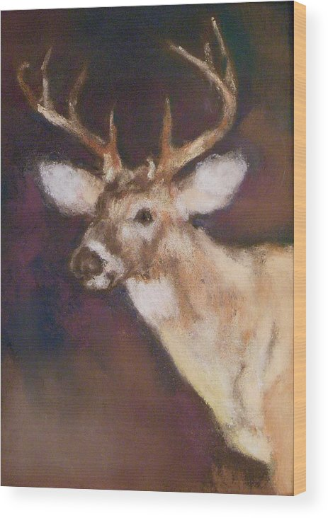 White Tail Deer Wood Print featuring the painting White Tail Buck by Debbie Anderson