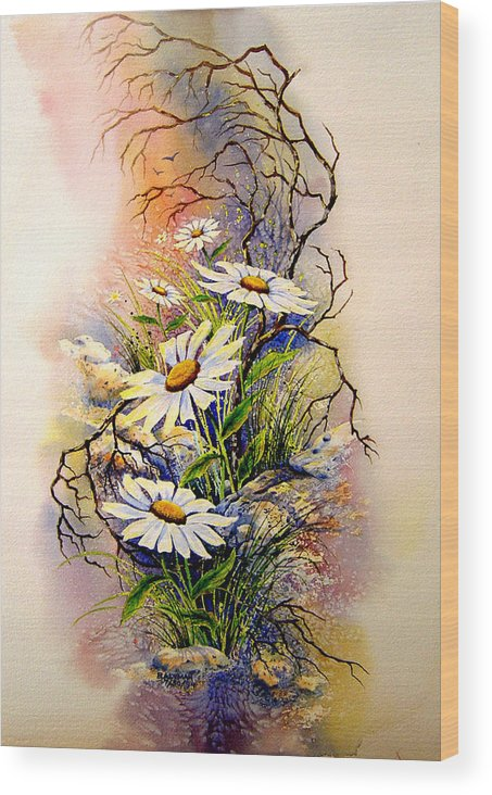 Floral Wood Print featuring the painting Wild Daisies by Brooke Lyman