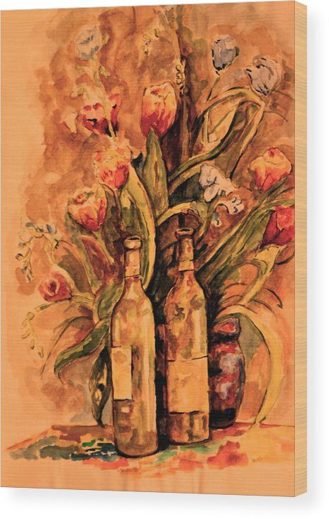 Wine Bottles Wood Print featuring the painting Wine And Tulips by Dan Earle