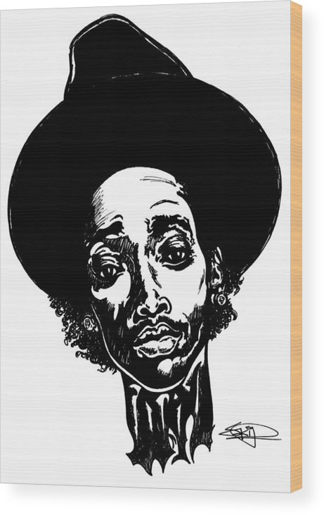 Hiphop Wood Print featuring the painting WIZ by SKIP Smith