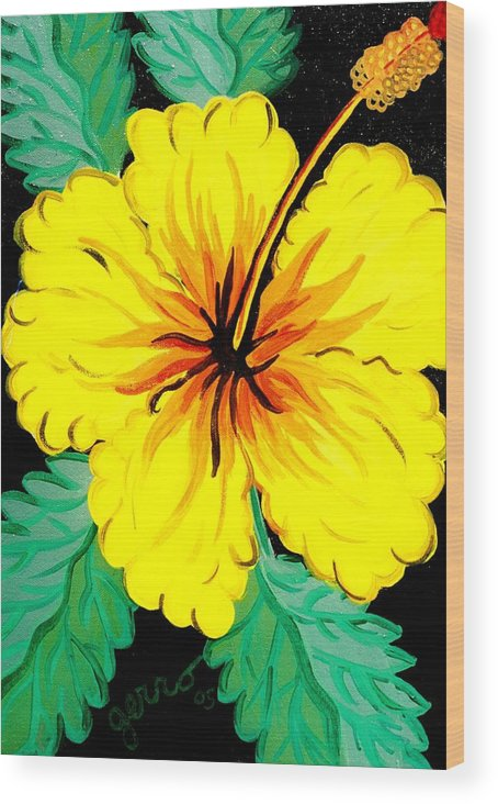 Hibiscus Artwork Wood Print featuring the painting Yellow Hibiscus by Helen Gerro