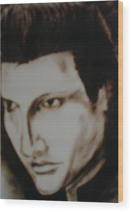 Elvis Wood Print featuring the drawing Young Elvis by Colin O neill
