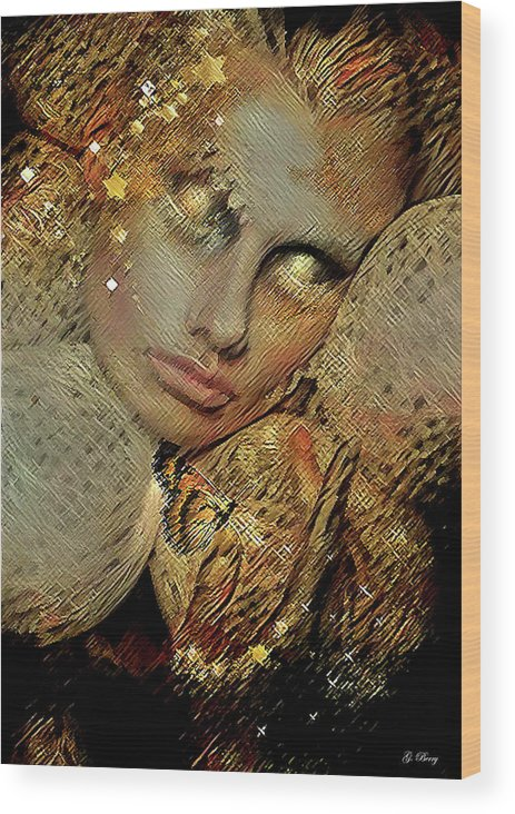 Gold Wood Print featuring the mixed media Butterflies Are Like Guardian Angels 002 by G Berry