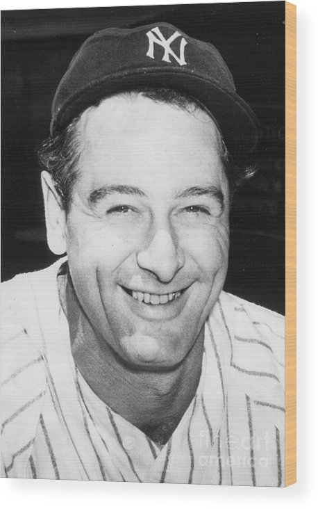 People Wood Print featuring the photograph Lou Gehrig Close Portrait by Transcendental Graphics